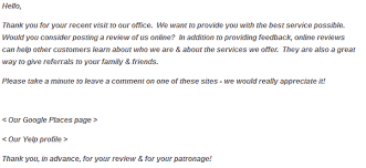 payment request letter to client asking customers for a review
