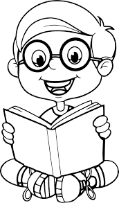 coloring page of child reading inspirationa reading a book cute cartoon kid coloring page reading a