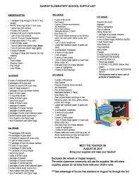 Sample School Supply Lists Rome Fontanacountryinn Com