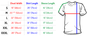 Regular Fit T Shirt Size Chart Size Chart