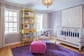 chair rail nursery. Simple Rail Pink And Purple Nursery Features Wallpapered Accent Wall Finished With A Chair  Rail Lined White Crib On Wheels Adorned Cobalt Blue Velvet  Throughout Chair Rail Nursery