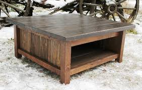 image of square rustic coffee table