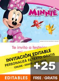 Aplicaciones Para Hacer Invitaciones Gratis 25 Invitaciones De Minnie Gratis Editables Para