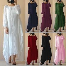 <b>S</b>-<b>5XL</b> Women's <b>Dress</b> Vintage Cotton Linen Asymmetric Hem Solid ...
