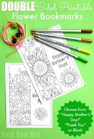 Website link for embroidery stitch tutorials. Printable Flower Bookmark Red Ted Art Make Crafting With Kids Easy Fun