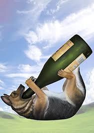 kitchen decor german shepherd dog wine bottle holder
