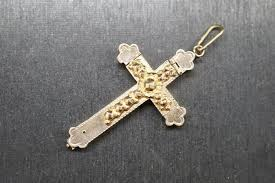 14 kt antique gold cross pendant with corpus christi