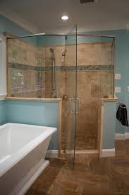 Glass Enclosed Showers this light blue master bathroom features a spacious glass enclosed 1911 by xevi.us