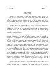 forrest gump film reaction paper