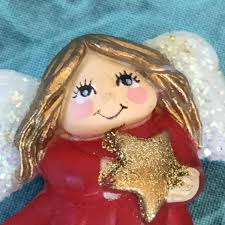 Vintage Angel in Red Pin. Little Girl Angel Pin With Star | Etsy