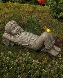 boy solar light frog daydreaming kid statue garden yard lawn outdoor home decor