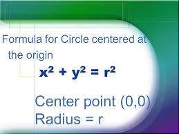 2 x 2 y 2 r 2 formula for circle centered at the origin center point 0 0 radius r