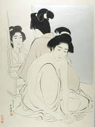 looking in mirror different reflection drawing. hashiguchi goyo: two female bathers, one kneeling and giving herself a pedicure, looking in mirror different reflection drawing