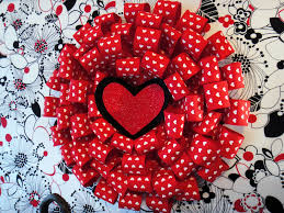 red heart ribbon valentine s day wall hanging