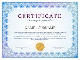 certificate template guilloche elements blue diploma border  certificate template guilloche elements blue diploma border design for personal conferment qualitative vector