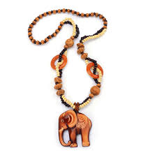 trendy handmade wood bead long chain pendant fish elephant charm necklace for women