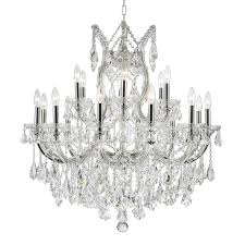 worldwide lighting maria theresa 30 in 19 light polished chrome crystal candle chandelier