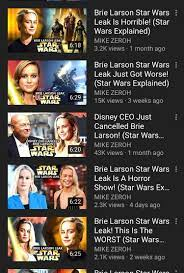 The fact that Brie Larson has absolutely nothing to do with Star Wars yet  this man makes 6-7 videos a week about her is fascinating. :  saltierthankrayt