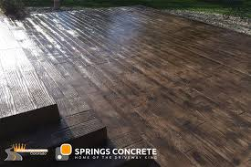 wooden plank stamped concrete patio