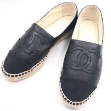 chanel classic black leather espadrilles flat