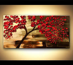 original abstract art paintings by osnat decorative red tree painting
