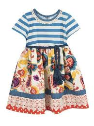 Details About Counting Daisies By Rare Editions Ivory Blue Striped Floral Dress Girls 4 Or 5