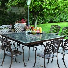 darlee sedona 9 piece cast aluminum patio dining set with square granite top table antique