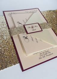 Burgundy Wedding Invitation With Glitter Ribbon Belly Band