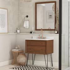 The virtu usa 78'' caroline parkway double sink vanity set by virtu offers a clean sleek structure with abundant storage and includes a espresso, grey or white vanity cabinet, countertop with backsplash, a white basin and matching framed mirror. Tribecca 30 Inch Wall Mounted Bathroom Vanity Dhp Furniture