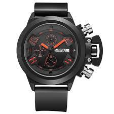 designer watch for men for fashion watches for men brands megir 2002 male quartz watch 30m water resistance silicone band black