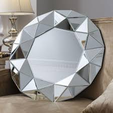 zaragoza multi faceted art deco mirror framed round wall mirror