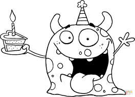 Small Picture Monster Coloring Page Happy Monster Celebrates Birthday With Cake