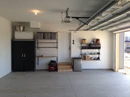 ideas medium size minimalist garage door opener with grey floor tile combined with small wooden shelves