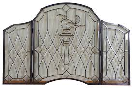 bevel clear glass folding fireplace screen hand made 52 x34 traditional fireplace screens by three mountain international inc