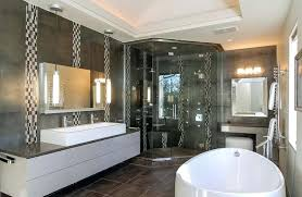 Modern bathroom design 2016 Modern Style Modern Bathroom Designs Black And White Modern Master Bathroom With Porcelain Tile Flooring And Large Soaking Benedict Kiely Modern Bathroom Designs Slowthinkinfo
