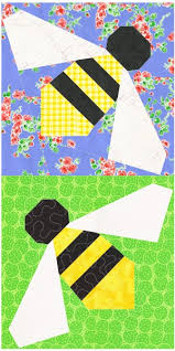 Honey Bee - a free paper piecing pattern | Piece By Number & Sew a whole hive of sweet honeybees with this free paper piecing quilt  block pattern suitable for adventurous beginners. The pattern provides both  3- and ... Adamdwight.com
