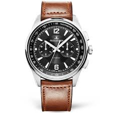 polaris 42mm black dial men 039 s chronograph brown leather strap watch
