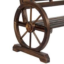 bcp wooden rustic wagon wheel bench for patio garden outdoor brown com