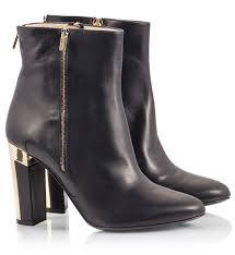 gladys black vitello leather high block heel ankle boots with zipper