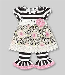 Counting Daisies Baby Girls 3 9 Months Striped Mixed Media Dress Striped Leggings Set