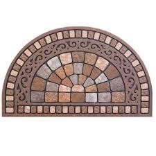 door mat half round stone 18 in x 30 in welcome brown oval outdoor floor rug new