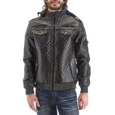 mens mixed media faux leather jacket with fleece hood