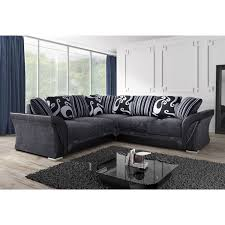 NEW FARROW LEATHER & CHENILLE FABRIC CORNER SOFA IN BLACK & GREY