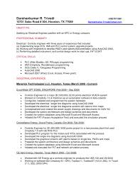Sample Resume Format For Electrical Engineer Best Of Control System Engineer Resume