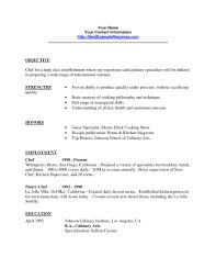 Resume Culinary Resume