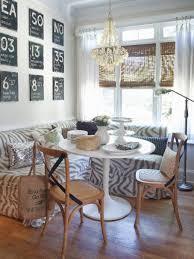 Dining Room:Breakfast Nook Design Idea With Zebra Sofa Also Bamboo Window  Blinds Astonishing Breakfast