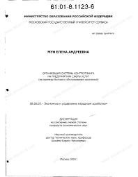 Диссертация на тему Организация системы контроллинга на  Диссертация и автореферат на тему Организация системы контроллинга на предприятиях сферы услуг На примере