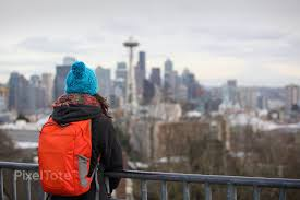 Seattle Cityscape Girl With A Backpack Looking At Seattle Cityscape Before The Dusk Stock Photo Pixeltote
