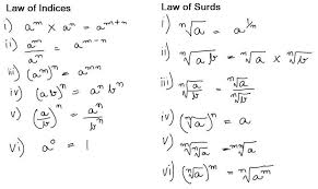 laws of indices and surds