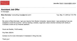 Email Accepting A Job Offer Fascinating The Daily Scam Personal Assistant Fake Check Employment Scam